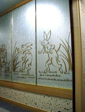 サンドブラスト 壁アートガラス